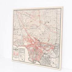 Wood Print Map, Los Angeles County, California 1934, Map Art