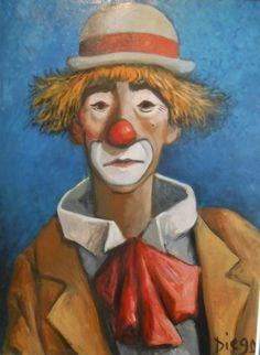 "#DIEGO VOCI - Raleigh & his wife Diane liked the DIEGO artwork they saw in Germany. Agreeing on just one to take stateside, it was a CLOWN! A subject #Diego had many interpretations of. Many ""triste"" or 'sad' in English. Alas, there are HAPPY #CLOWNS by DIEGO out there! DO you have one? Let us know: diegovociproject.com"
