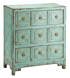 Lovely hand-painted vintage green apothecary style chest features a faded goldenrod floral motif and three drawers. - Materials: N/A - Color-Finished: Vintage Green - Features: Faded goldenrod floral