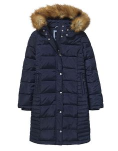 Women's Long Down Coat in Navy from Crew Clothing