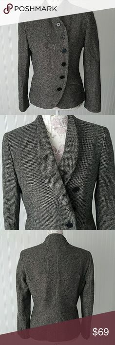 """Trendy RALPH Lauren tweed blazer jacket sz. 10 Like new condition tweed jacket, black and cream tweed, fitted with curved button line, sz. 10. Flat measurements chest 20"""", sleeve inseam 16"""", 22"""" length. Fully lined, padded shoulders, slit pockets. Ralph Lauren Jackets & Coats Blazers"""