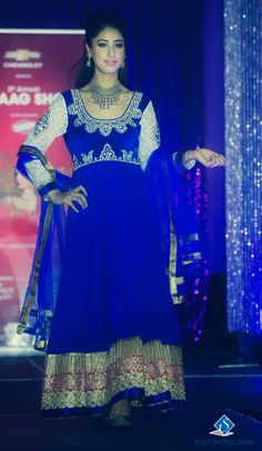 Royal blue and wonderful! From the ramp at the 5th Annual Suhaag Show held in Ottawa on November 24th, 2013.  Photo by: Smiles Photography #southasian