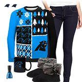 Carolina Panthers Ugly Sweater Love