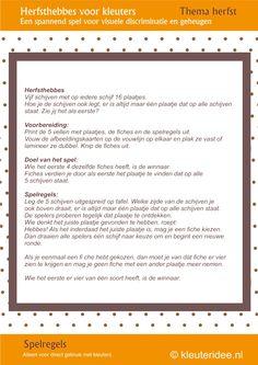 5 kaarten: Leuk spel voor kleuters, Herfsthebbes spelregels, by juf Petra van kleuteridee, oefent de visuele discriminatie en het geheugen, free printable.