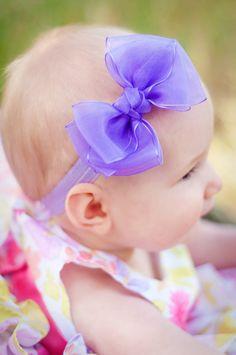 Baby Bow, Sheer Double Layer Boutique Baby Headband Bow  via Etsy ( I NEED THESE)