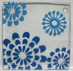 4 NEW Art Deco Blue Snowflake Flowers Square by DianesBargainShack