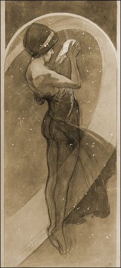 1902 Mucha  The Moon and Stars, Etoile Polaire Study