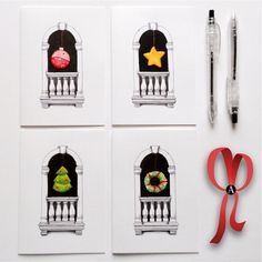 Original Xmas cards Old Venetian window all hand drawn black ink paper Xmas pendant set of 4 cards choose from 1 to all 4 -OOAK