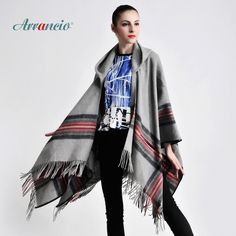 New arrival 2014 free shipping pure wool hat thick plaid belt perimeter cloak ultralarge dual-use scarf cape poncho