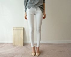 White denim and nude pumps <3