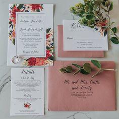 Dusty Rose Floral Wedding Invitation