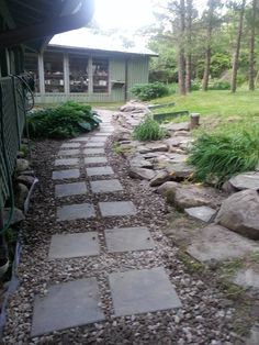 Finished product of the walkway and garden in New York
