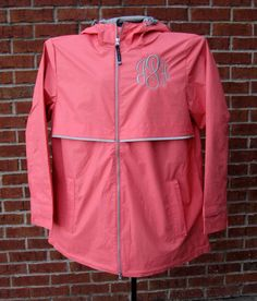 Monogrammed Coral New Englander Rain Jacket by jansnstitches on Etsy