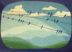 Handgemachte Foto-Grußkarte mit Umschlag. Foto ist von einer ursprünglichen Fensterbild das zeigt Schwalben auf Drähten zu sammeln, bevor Süden fliegen. In der Ferne die Skyline von Tafelberg in...