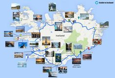 main attractions along the ring road circle of Iceland: map, location, and photos