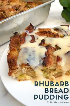 A delicious bread pudding recipe using fresh or frozen rhubarb. Perfect for a sweet breakfast or filling dessert. Make ahead the night before. Rhubarb Desserts, Apple Rhubarb Recipes, Rhubarb Dishes, Rhubarb Scones, Savory Breakfast, Sweet Breakfast, Breakfast Recipes, Dessert Recipes, Rhubarb Bread Pudding