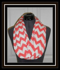 Introductory Sale Handmade Infinity Scarf-Orange White Chevron-Jersey Knit -Ready to Ship on Etsy, $13.00