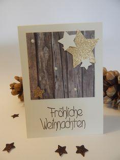 Deko und Accessoires für Weihnachten: Weihnachtskarte handgemacht mit Sternen made by Stempeldorf via DaWanda.com