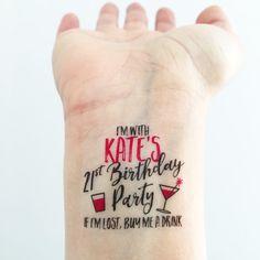 15 Custom Birthday Temporary Tattoos Girls Night by LoveAndLion