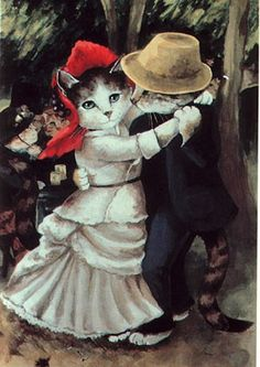 (A FAVORITE PIN) Artist Susan Herbert. Renoir is my favorite and this is in my top 5 of his paintings, so add a cat, and well, nearly perfect.