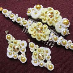 Soutache Wedding Jewelry Sets Bridesmaid Jewelry Bridal Jewelry Sets for Bridesmaid Bridal Earrings Bracelets for Women Wedding Hair Comb