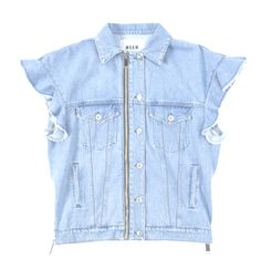 Oversized sleeveless denim jacket Flare and fray sleeve detail Front Zipper cotton Made in Italy Denim Button Up, Button Up Shirts, Sleeveless Denim Jackets, Sleeves, Cotton, Tops, Women, Fashion, Moda