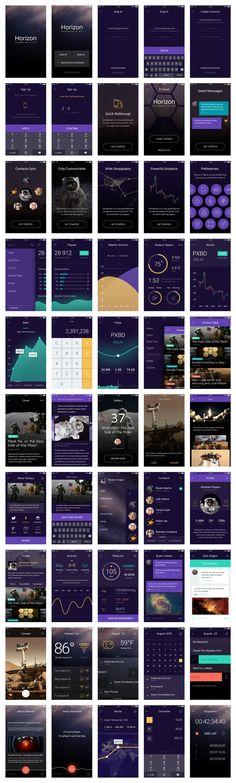 Horizontal UI kit - Great referencing for digital applications design http://pixelbuddha.net/horizon/