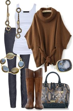 Love the brown and blues together...cool sweater!