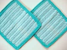 Soft Natural Dish Cloths  Hand Crocheted  Blue by CozyKitchenKnits, $7.50