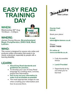 Disability West Lothian still have places on their Easy Read Training Day Wednesday 26th August James Young House, Pumpherston http://www.vsgwl.org/?p=12937