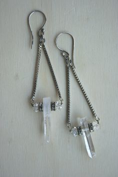 QUARTZ CRYSTAL POINT pendulum earrings. Silver geometric swing earrings. Raw crystal, rondelle, staement piece