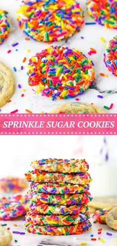 These beautiful Sprinkle Sugar Cookies are easy to make and perfect for a festive occasion! Coat your cookies with a layer of your favorite sprinkles or fold the sprinkles right into the batter. Sugar Cookies With Sprinkles, Sugar Cookies From Scratch, Sprinkle Cookies, Basic Butter Cookies Recipe, Chewy Sugar Cookie Recipe, Baking Soda Baking Powder, Baking Flour, Sweets Recipes, Cookie Recipes
