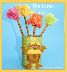 The Lorax can and Truffula trees!  We will be making this in my class next week and planting a flower inside of it :)