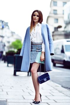 statement skirt with shirt and coat