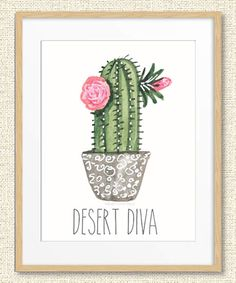 Look at this Green Cactus 'Desert Diva' Print on today! Look at this Gre Cactus Drawing, Cactus Painting, Cactus Wall Art, Cactus Decor, Painting Art, Green Cactus, Cactus Flower, Cactus Cactus, Cactus Quotes