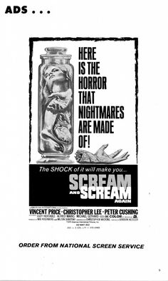 The shock of this vintage poster will make you… Scream and Scream Again!