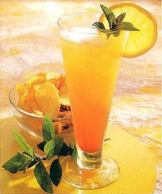 Atlantic Breeze cocktail.A refreshing,rum based,long drink with a fruity flavor.A golden color.