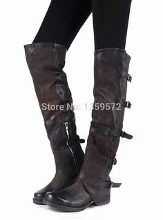 Fashion Buckles Women Thigh High Boots Genuine Leather Flats Shoes Woman Vintage Style Long Motorcycle Boots Botas Lady Booties