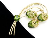 Vintage Green Rhinestone Pin SARAH COVENTRY Touch by hawaiibeads2, $39.95