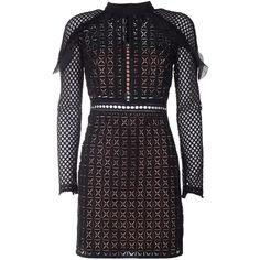 Self-Portrait Geometric Guipure Lace Mini Dress ($290) ❤ liked on Polyvore featuring dresses, nero, lace dress, long sleeve lace cocktail dress, lace slip dress, lace slip and sheer lace dresses