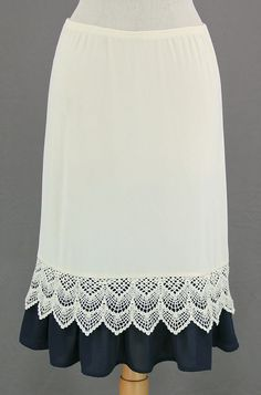 Navy & White Lace A-Line Skirt