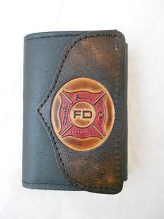 Hand-Crafted Firefighter Leather Tri-fold Wallet by HilltopLeather Firefighter Bedroom, Firefighter Paramedic, Firefighter Decor, Female Firefighter, Volunteer Firefighter, Firefighter Jacket, Firefighter Stickers, Fire Department, Fire Dept