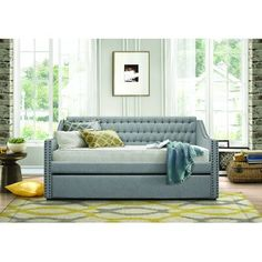 Designed to use as a bed or a cozy relaxation nook, this sofa bed features a trundle that provides the extra space you need for overnight guests. Trundle: X X Sofa bed: X X Furniture, Basement Guest Rooms, Room, Daybed With Trundle, Daybed In Living Room, Home Decor, Homelegance, Daybed Styles, Pop Up Trundle
