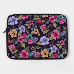 Bright and Beautiful Flowers for any Occasion - Flowers - Laptop Case   TeePublic.  Say 'I Love You' or 'Happy Birthday' with this wonderful collection of flowers. Yellow, pink and blue flowers with green leaves set on a dark background. Pink And Blue Flowers, Dark Backgrounds, Laptop Case, Green Leaves, Beautiful Flowers, Happy Birthday, Bright, Yellow, Collection