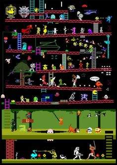 Video And Arcade Games Created by Judan A mashup of over 50 games from the from a variety of systems. How many games do you recognize? Vintage Video Games, Classic Video Games, Retro Video Games, Video Game Art, Retro Games, Video Game Posters, Video Game Characters, Vintage Games, Arcade Retro