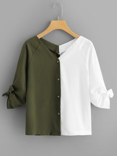 Young Casual Shirt Regular Fit V Neck Long Sleeve Placket Multicolor Regular Length Color Block Knot Detail Blouse - Women Long Sleeve Shirts - Ideas of Women Long Sleeve Shirts Girls Fashion Clothes, Teen Fashion Outfits, Mode Outfits, Trendy Fashion, Style Clothes, Stylish Dress Designs, Stylish Dresses, Cute Casual Outfits, Casual Shirts