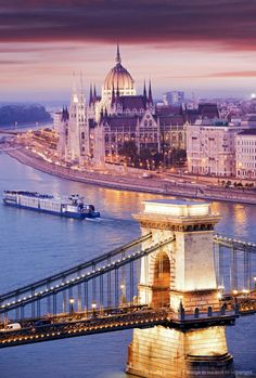 Chain Bridge in Budapest, Hungary.  Go to www.YourTravelVideos.com or just click on photo for home videos and much more on sites like this.