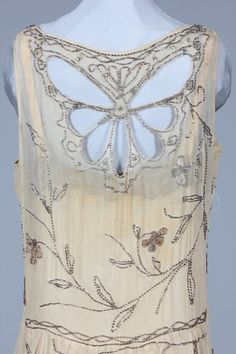 Beaded ivory chiffon flapper dress with butterfly beading, circa 1928 (back)