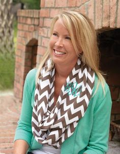 Tons of new infinity scarves for Fall! Have them monogrammed for extra cuteness!!!  #infinityscarves #fallfashion #chevron #monogrammed