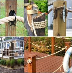 If your home needs a fence, be it a deck fence, a yard fence or a border fence, here are some ideas for coastal style living. Rope Fence, Fence Gate, Fences, Deck Border Ideas, Coastal Style, Coastal Decor, Fence Design, Garden Design, Decking Panels